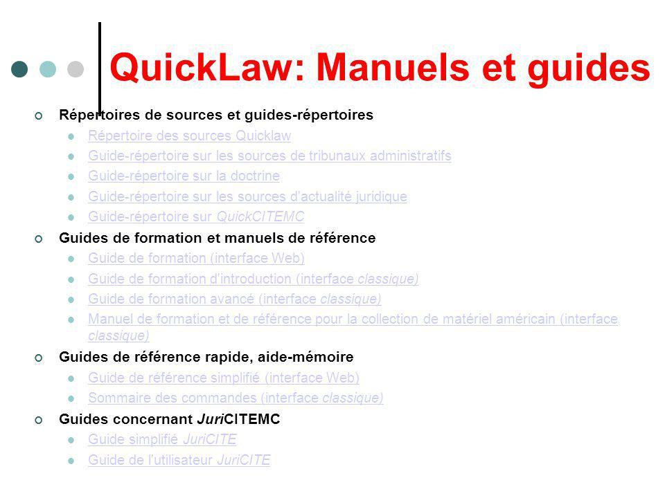 QuickLaw CONTENU des BANQUES: QuickLaw offre le plus grande nombre banques au Canada (plus de 2500 banques), mais sa couverture du droit québécois est moins complète que celle dAzimut On doit consulter lÉCRAN « Répertoire des banques » On peut aussi chercher dans le Répertoire des sources de QuickLaw (en format.PDF) http://www.lexisnexis.ca/ql/fr/concern/materiel.html#complete
