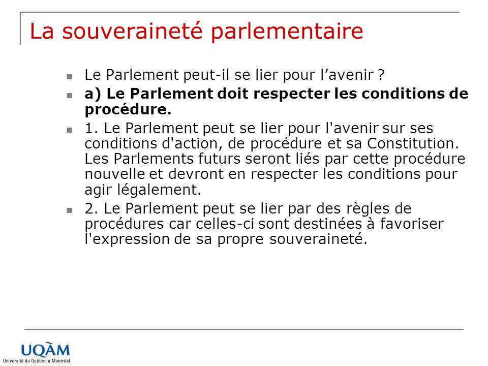 La souveraineté parlementaire Le Parlement peut-il se lier pour lavenir ? a) Le Parlement doit respecter les conditions de procédure. 1. Le Parlement