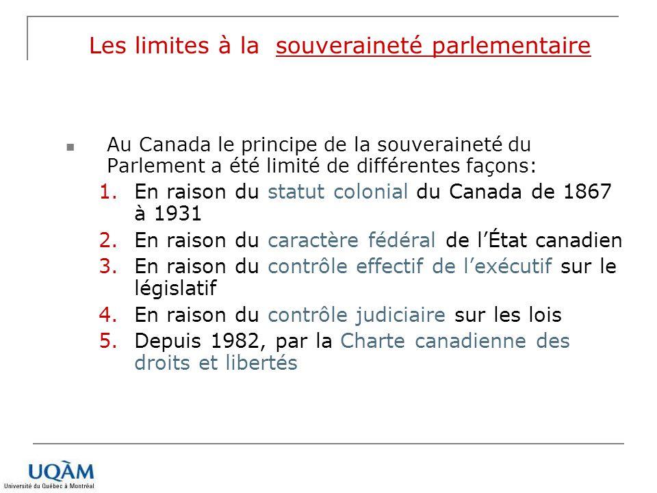 Les limites à la souveraineté parlementaire Au Canada le principe de la souveraineté du Parlement a été limité de différentes façons: 1.En raison du s