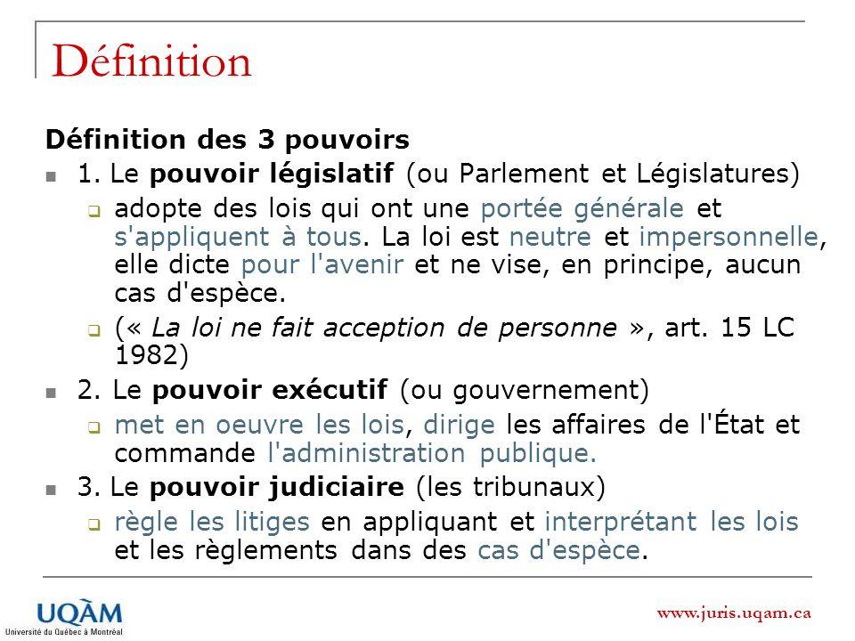 www.juris.uqam.ca Définition Définition des 3 pouvoirs 1. Le pouvoir législatif (ou Parlement et Législatures) adopte des lois qui ont une portée géné