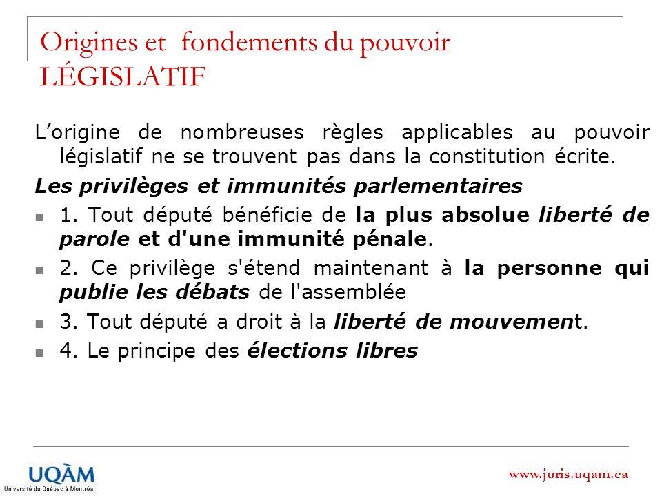 www.juris.uqam.ca Lorigine de nombreuses règles applicables au pouvoir législatif ne se trouvent pas dans la constitution écrite. Les privilèges et im