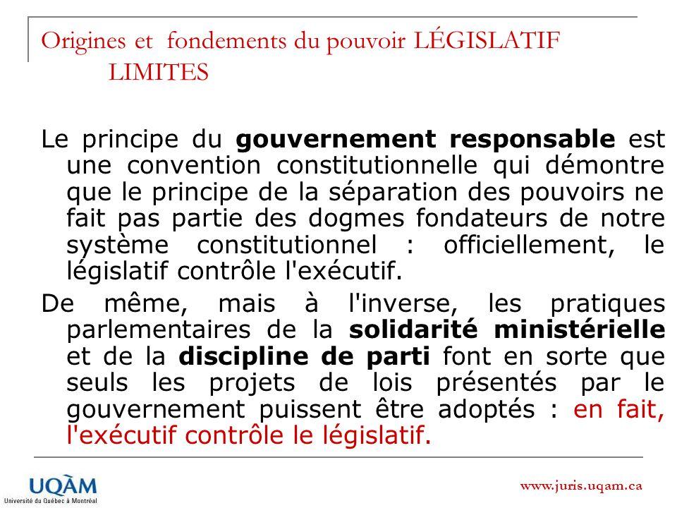 www.juris.uqam.ca Origines et fondements du pouvoir LÉGISLATIF LIMITES Le principe du gouvernement responsable est une convention constitutionnelle qui démontre que le principe de la séparation des pouvoirs ne fait pas partie des dogmes fondateurs de notre système constitutionnel : officiellement, le législatif contrôle l exécutif.