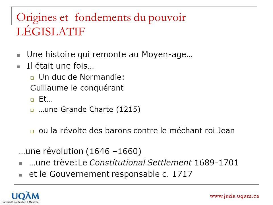 www.juris.uqam.ca Origines et fondements du pouvoir LÉGISLATIF Une histoire qui remonte au Moyen-age… Il était une fois… Un duc de Normandie: Guillaum