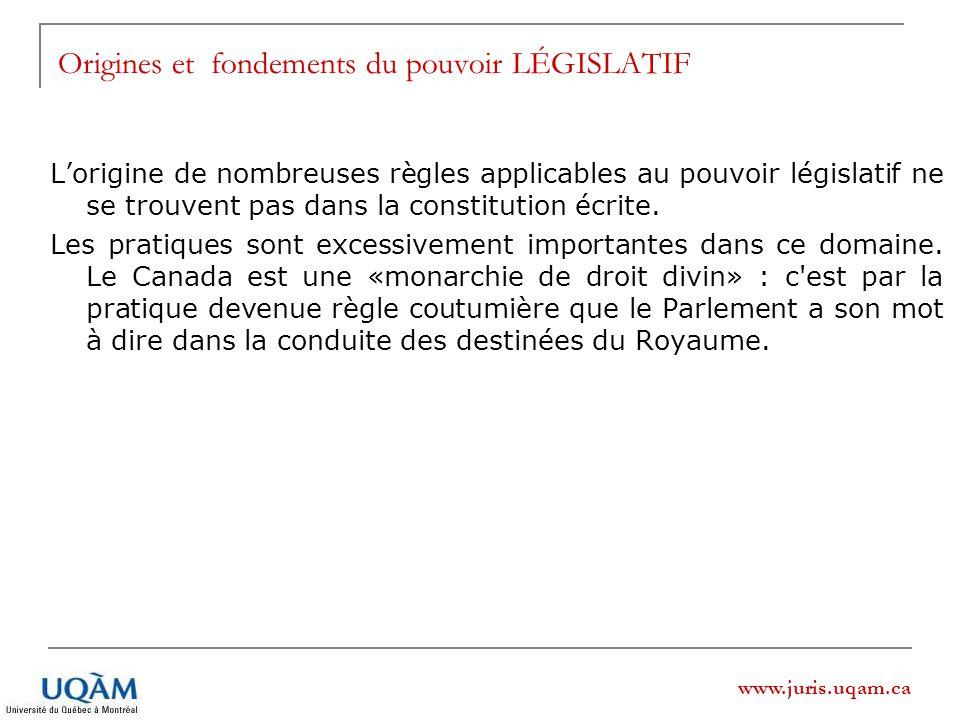 www.juris.uqam.ca Origines et fondements du pouvoir LÉGISLATIF Lorigine de nombreuses règles applicables au pouvoir législatif ne se trouvent pas dans