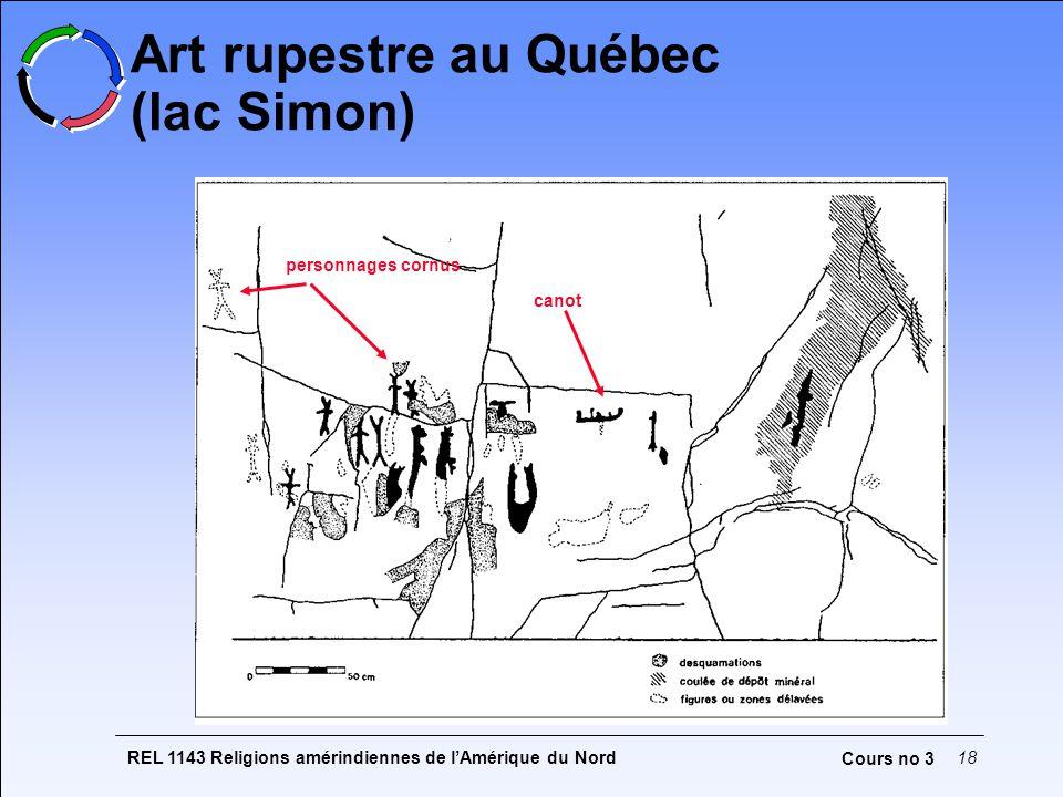 REL 1143 Religions amérindiennes de lAmérique du Nord18 Cours no 3 Art rupestre au Québec (lac Simon) personnages cornus canot