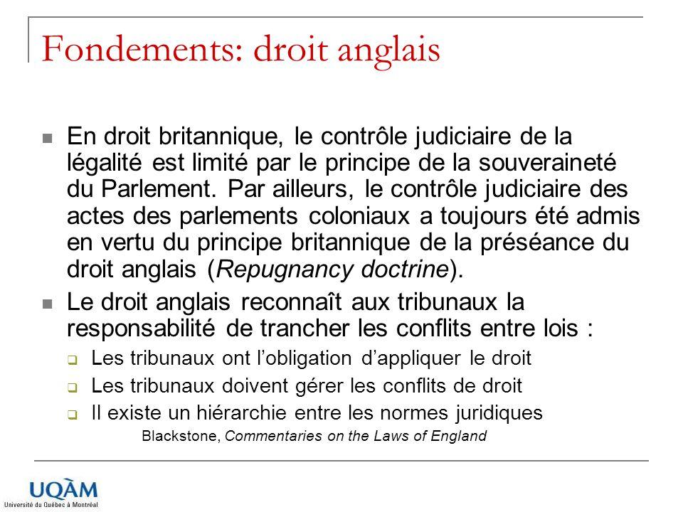 Fondements: droit anglais En droit britannique, le contrôle judiciaire de la légalité est limité par le principe de la souveraineté du Parlement. Par