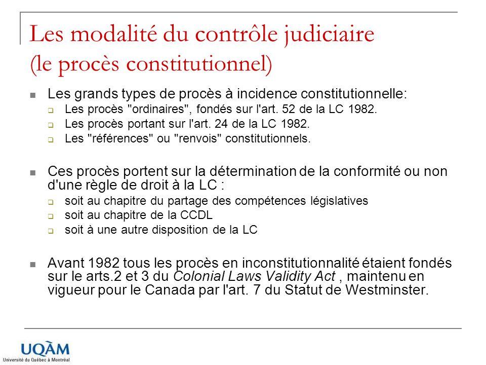 Les modalité du contrôle judiciaire (le procès constitutionnel) Les grands types de procès à incidence constitutionnelle: Les procès
