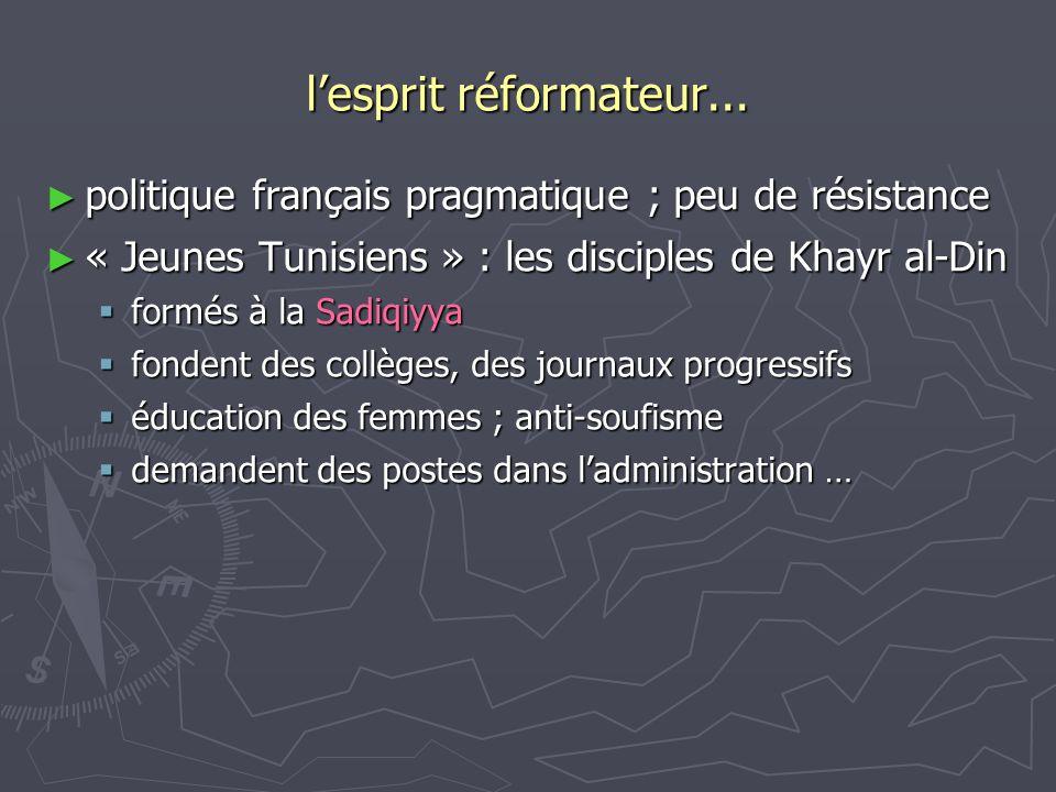lesprit réformateur... politique français pragmatique ; peu de résistance politique français pragmatique ; peu de résistance « Jeunes Tunisiens » : le