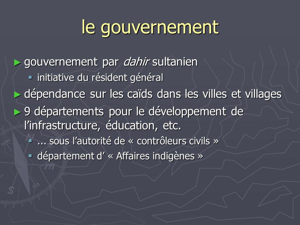 le gouvernement gouvernement par dahir sultanien gouvernement par dahir sultanien initiative du résident général initiative du résident général dépend
