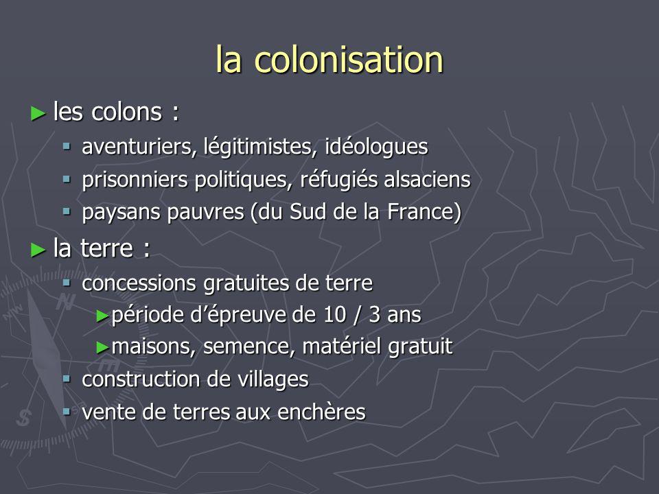 la colonisation les colons : les colons : aventuriers, légitimistes, idéologues aventuriers, légitimistes, idéologues prisonniers politiques, réfugiés alsaciens prisonniers politiques, réfugiés alsaciens paysans pauvres (du Sud de la France) paysans pauvres (du Sud de la France) la terre : la terre : concessions gratuites de terre concessions gratuites de terre période dépreuve de 10 / 3 ans période dépreuve de 10 / 3 ans maisons, semence, matériel gratuit maisons, semence, matériel gratuit construction de villages construction de villages vente de terres aux enchères vente de terres aux enchères