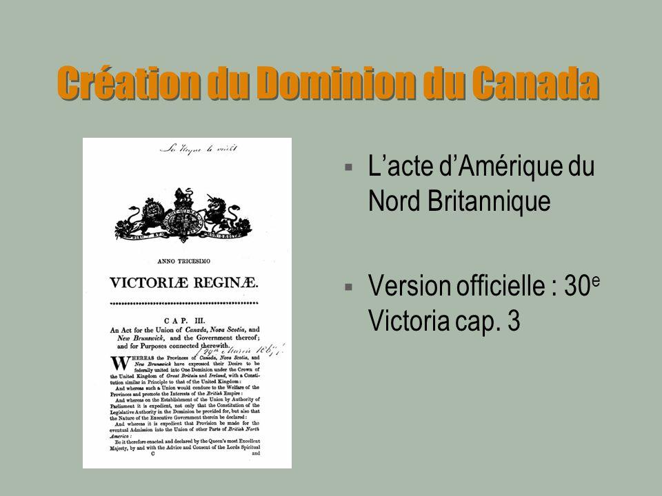 Création du Dominion du Canada Lacte dAmérique du Nord Britannique Version officielle : 30 e Victoria cap. 3
