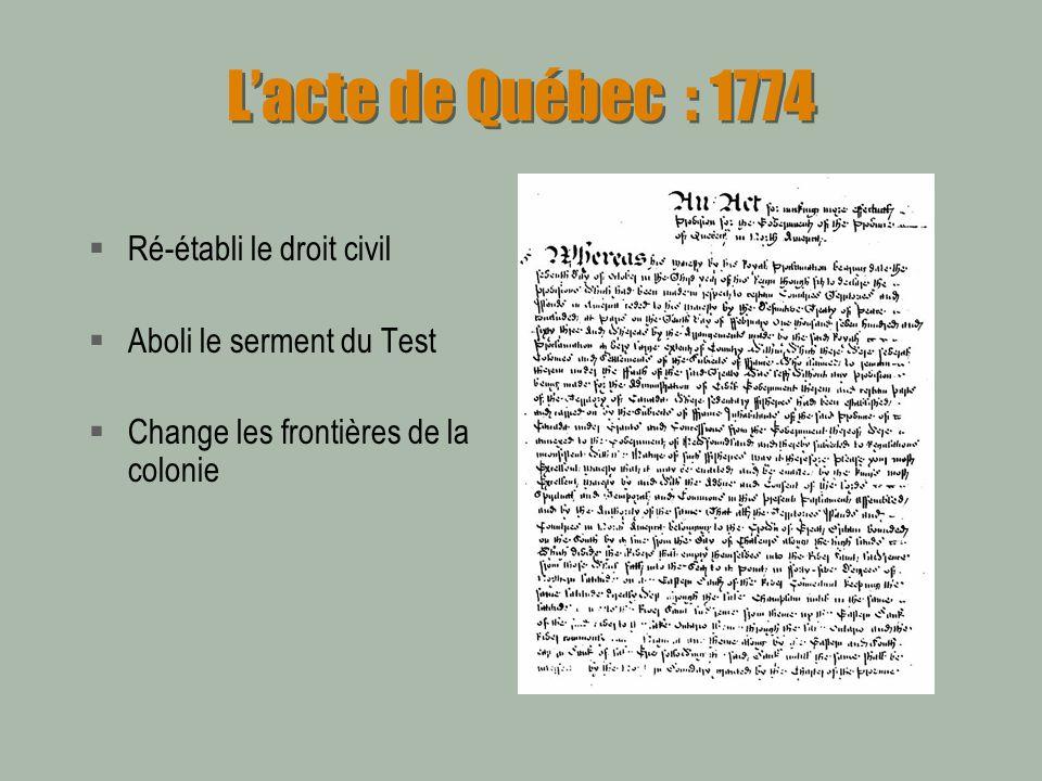 Lacte constitutionnel de 1791 Création dun parlement pour le Haut et le Bas Canada Dans le Bas-Canada les femmes auront « brièvement » le droit de vote