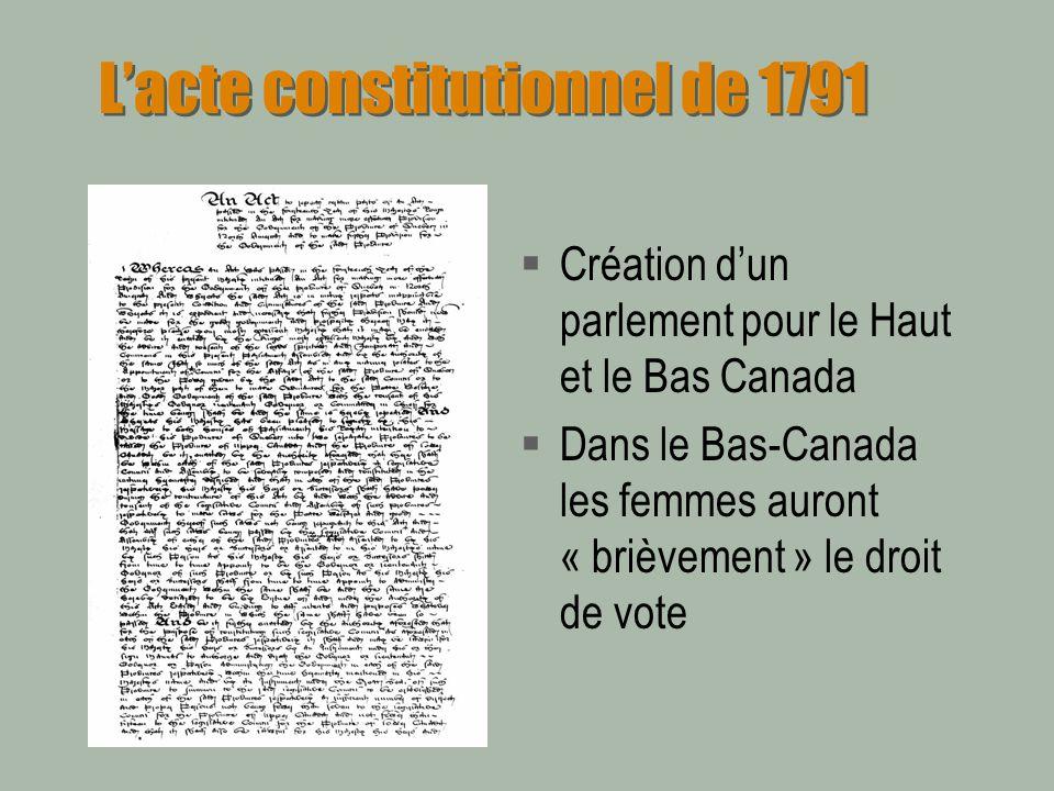 Lacte constitutionnel de 1791 Création dun parlement pour le Haut et le Bas Canada Dans le Bas-Canada les femmes auront « brièvement » le droit de vot