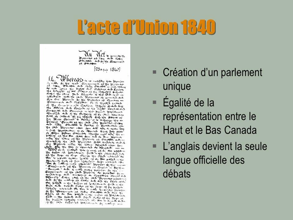 Lacte dUnion 1840 Création dun parlement unique Égalité de la représentation entre le Haut et le Bas Canada Langlais devient la seule langue officiell