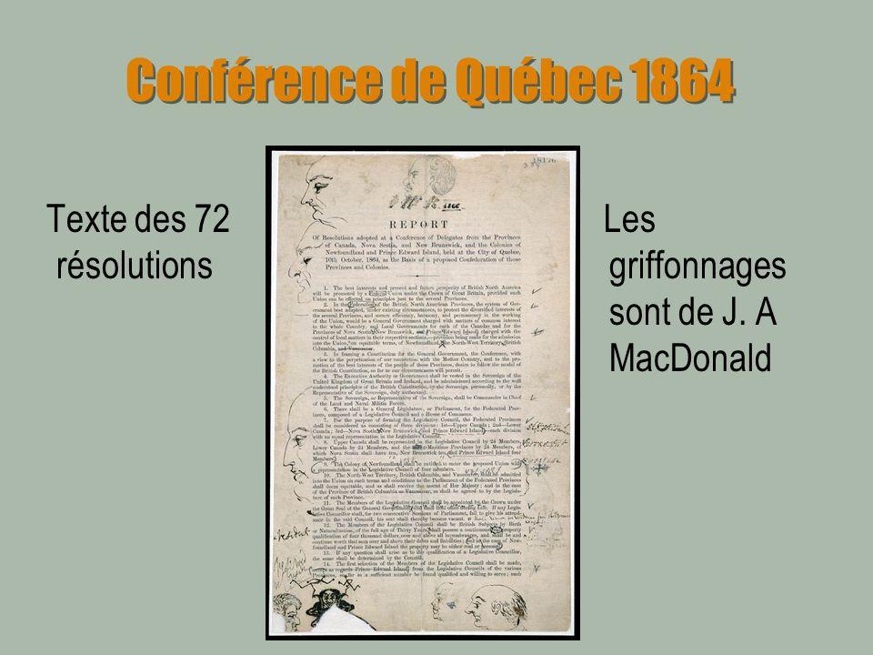 Conférence de Québec 1864 Texte des 72 résolutions Les griffonnages sont de J. A MacDonald