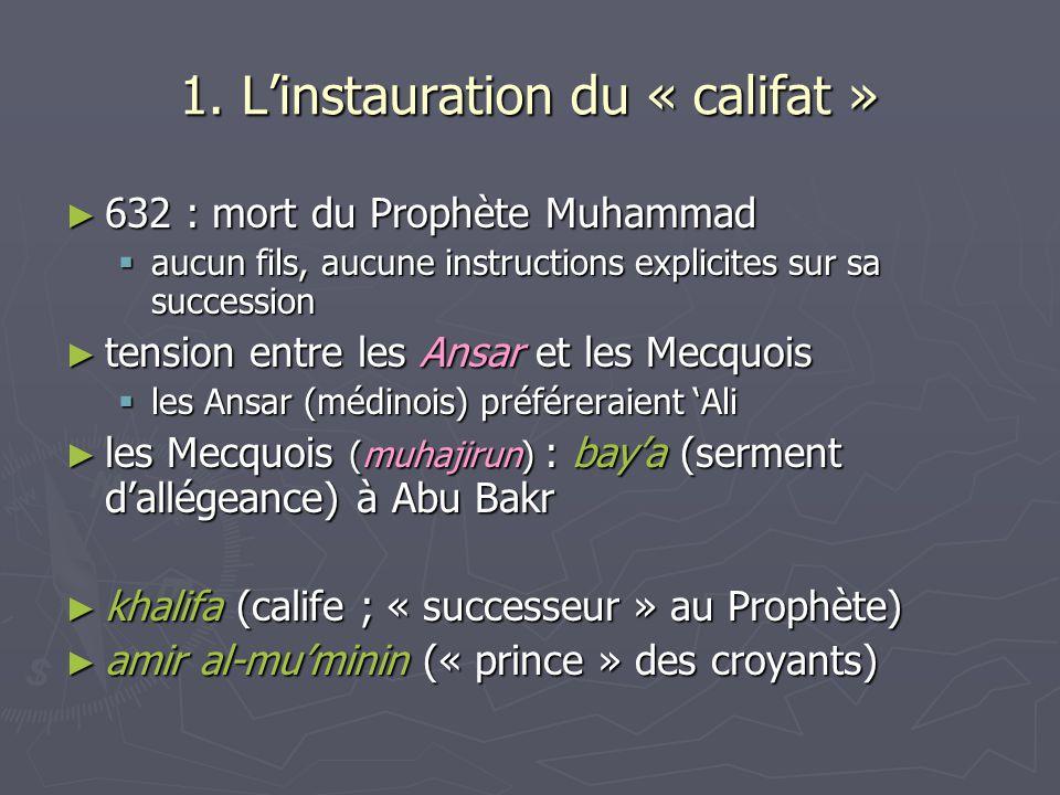1. Linstauration du « califat » 632 : mort du Prophète Muhammad 632 : mort du Prophète Muhammad aucun fils, aucune instructions explicites sur sa succ