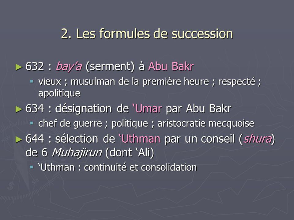 2. Les formules de succession 632 : baya (serment) à Abu Bakr 632 : baya (serment) à Abu Bakr vieux ; musulman de la première heure ; respecté ; apoli