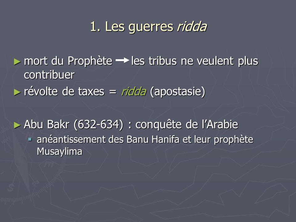 1. Les guerres ridda mort du Prophète les tribus ne veulent plus contribuer mort du Prophète les tribus ne veulent plus contribuer révolte de taxes =