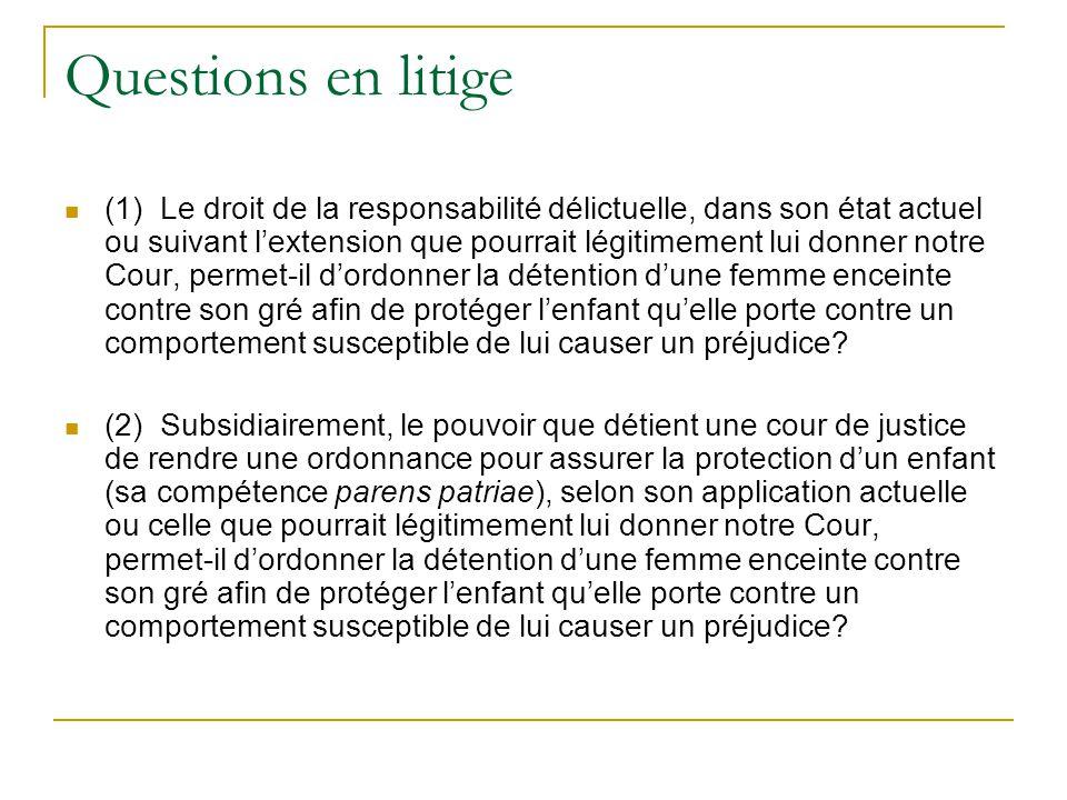 Questions en litige (1) Le droit de la responsabilité délictuelle, dans son état actuel ou suivant lextension que pourrait légitimement lui donner not