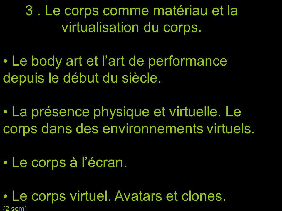3. Le corps comme matériau et la virtualisation du corps.