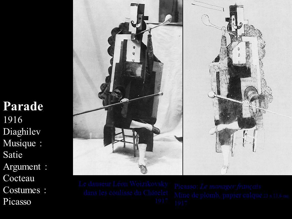 Le danseur Léon Woizikovsky dans les coulisse du Châtelet 1917 Picasso: Le manager français Mine de plomb, papier calque 23 x 13,6 cm 1917 Parade 1916 Diaghilev Musique : Satie Argument : Cocteau Costumes : Picasso