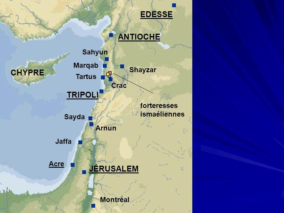 Montréal JÉRUSALEM Acre EDESSE ANTIOCHE Sayda Jaffa Arnun Shayzar TRIPOLI Crac Tartus CHYPRE Sahyun Marqab forteresses ismaéliennes