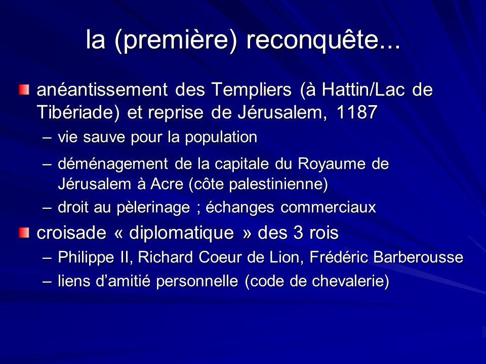 la (première) reconquête... anéantissement des Templiers (à Hattin/Lac de Tibériade) et reprise de Jérusalem, 1187 –vie sauve pour la population –démé