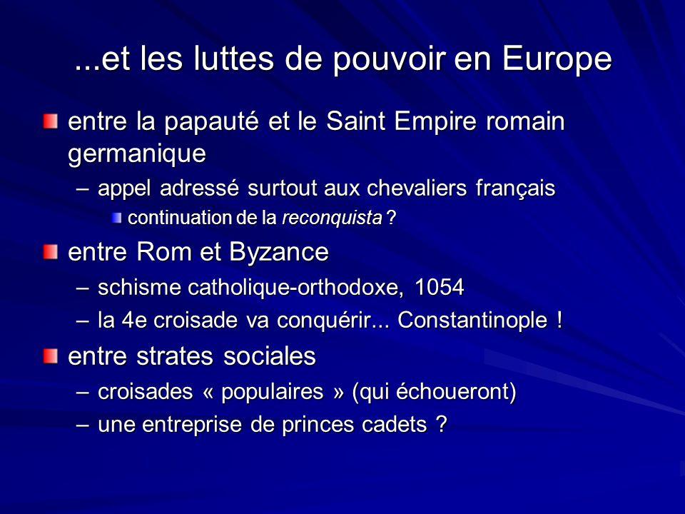 ...et les luttes de pouvoir en Europe entre la papauté et le Saint Empire romain germanique –appel adressé surtout aux chevaliers français continuatio