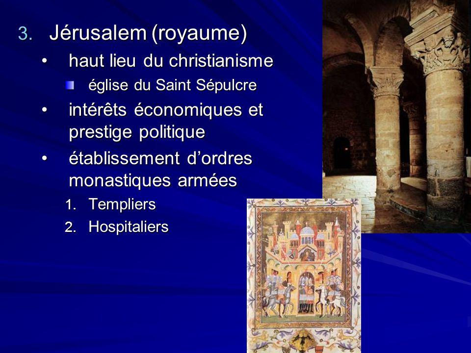3. Jérusalem (royaume) haut lieu du christianismehaut lieu du christianisme église du Saint Sépulcre intérêts économiques et prestige politiqueintérêt