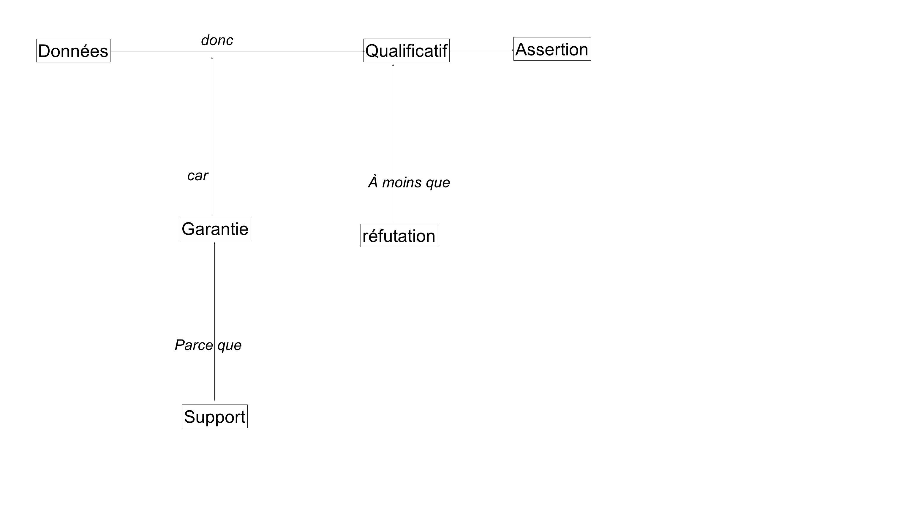 Données Qualificatif Assertion donc Garantie Support car Parce que réfutation À moins que