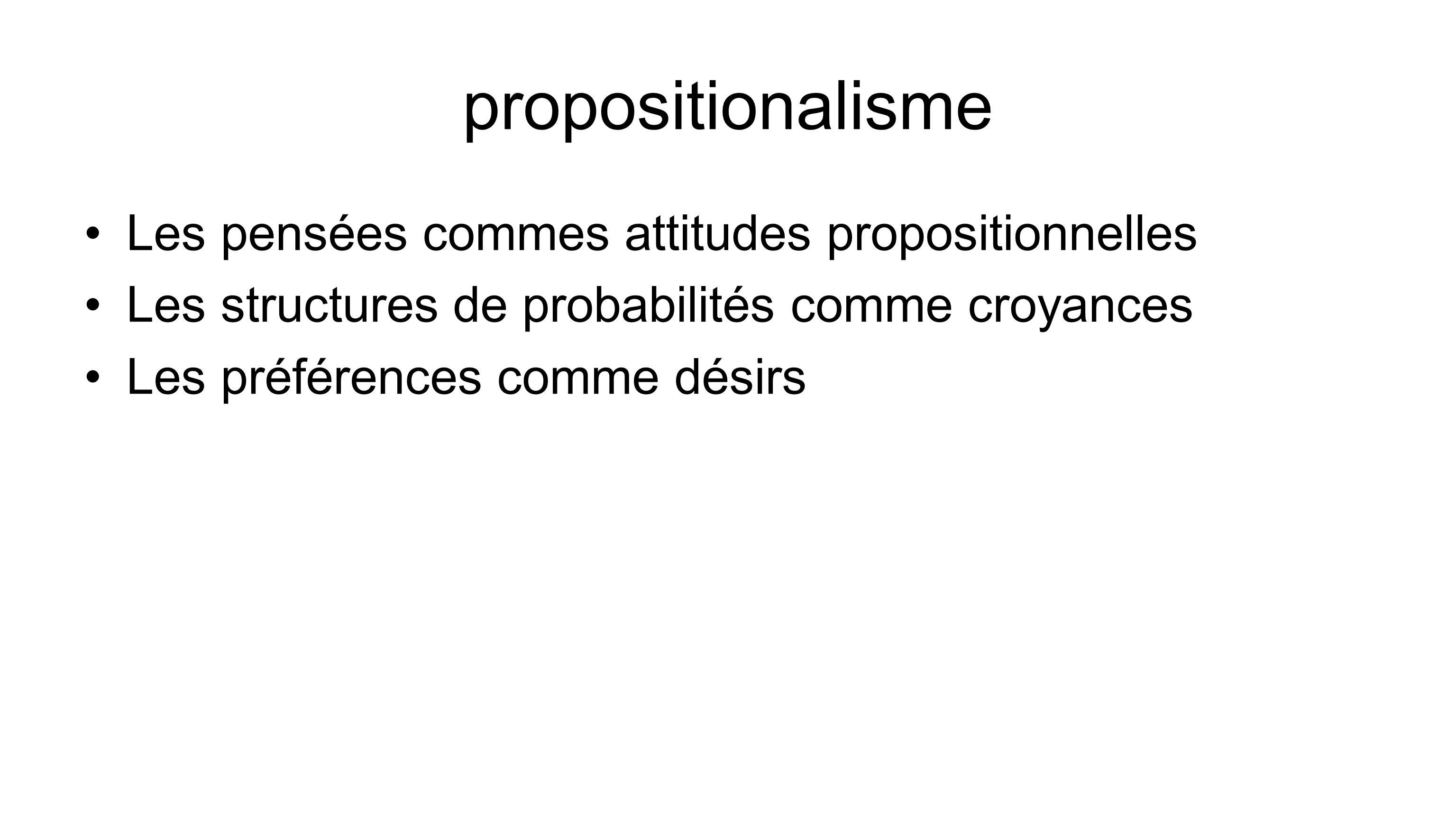 propositionalisme Les pensées commes attitudes propositionnelles Les structures de probabilités comme croyances Les préférences comme désirs
