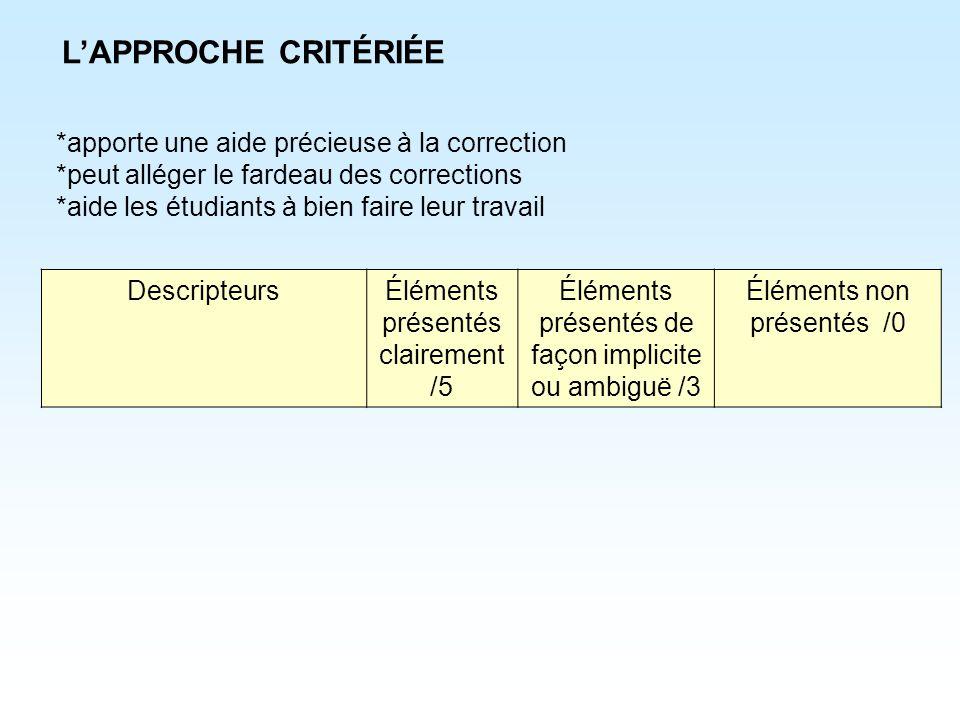 *apporte une aide précieuse à la correction *peut alléger le fardeau des corrections *aide les étudiants à bien faire leur travail LAPPROCHE CRITÉRIÉE
