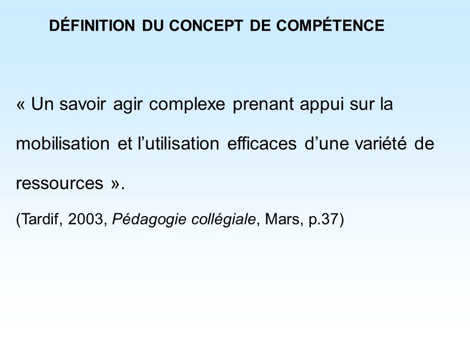 DÉFINITION DU CONCEPT DE COMPÉTENCE « Un savoir agir complexe prenant appui sur la mobilisation et lutilisation efficaces dune variété de ressources »