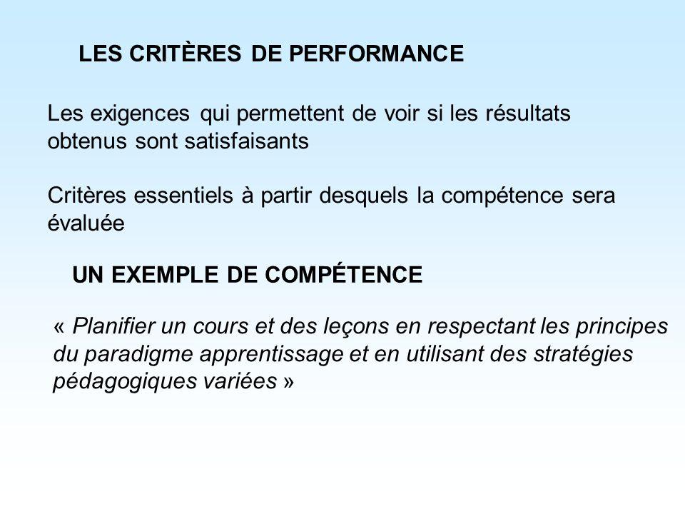 LES CRITÈRES DE PERFORMANCE Les exigences qui permettent de voir si les résultats obtenus sont satisfaisants Critères essentiels à partir desquels la
