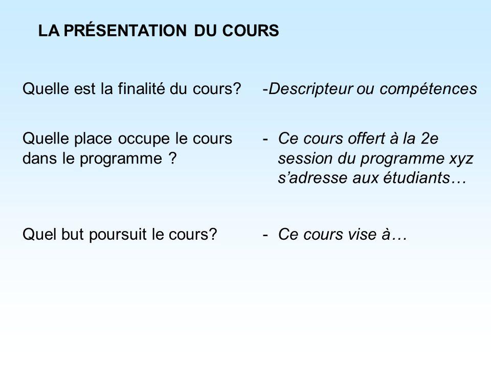 LA PRÉSENTATION DU COURS Quelle est la finalité du cours? Quelle place occupe le cours dans le programme ? Quel but poursuit le cours? -Descripteur ou