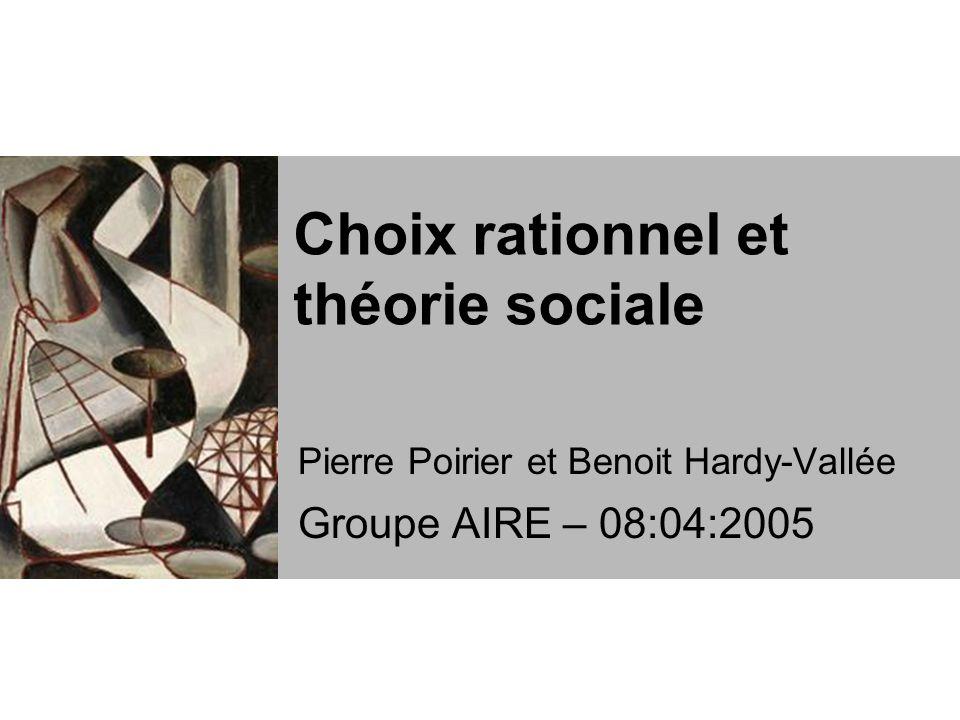 Choix rationnel et théorie sociale Pierre Poirier et Benoit Hardy-Vallée Groupe AIRE – 08:04:2005
