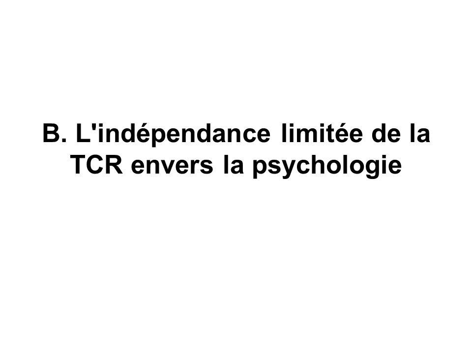 B. L'indépendance limitée de la TCR envers la psychologie