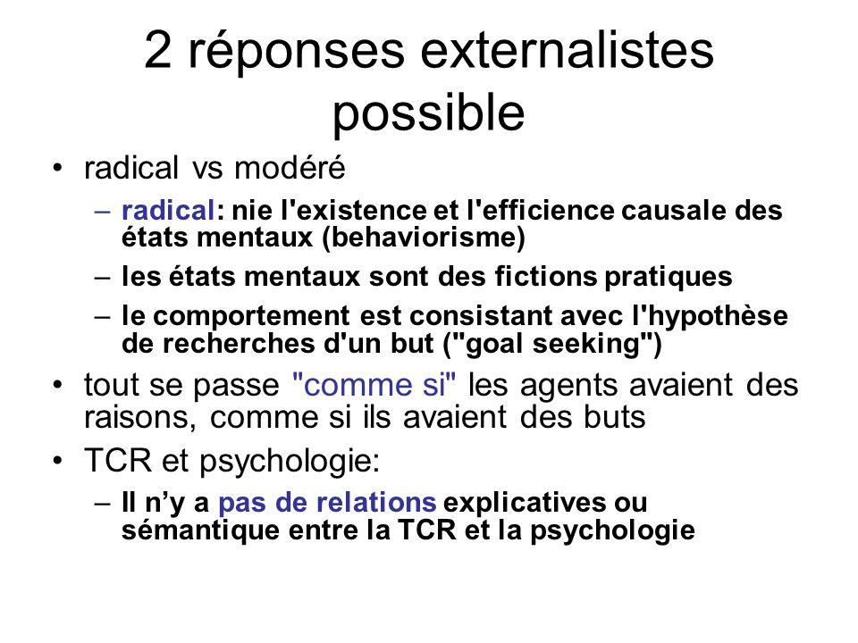 2 réponses externalistes possible radical vs modéré –radical: nie l'existence et l'efficience causale des états mentaux (behaviorisme) –les états ment