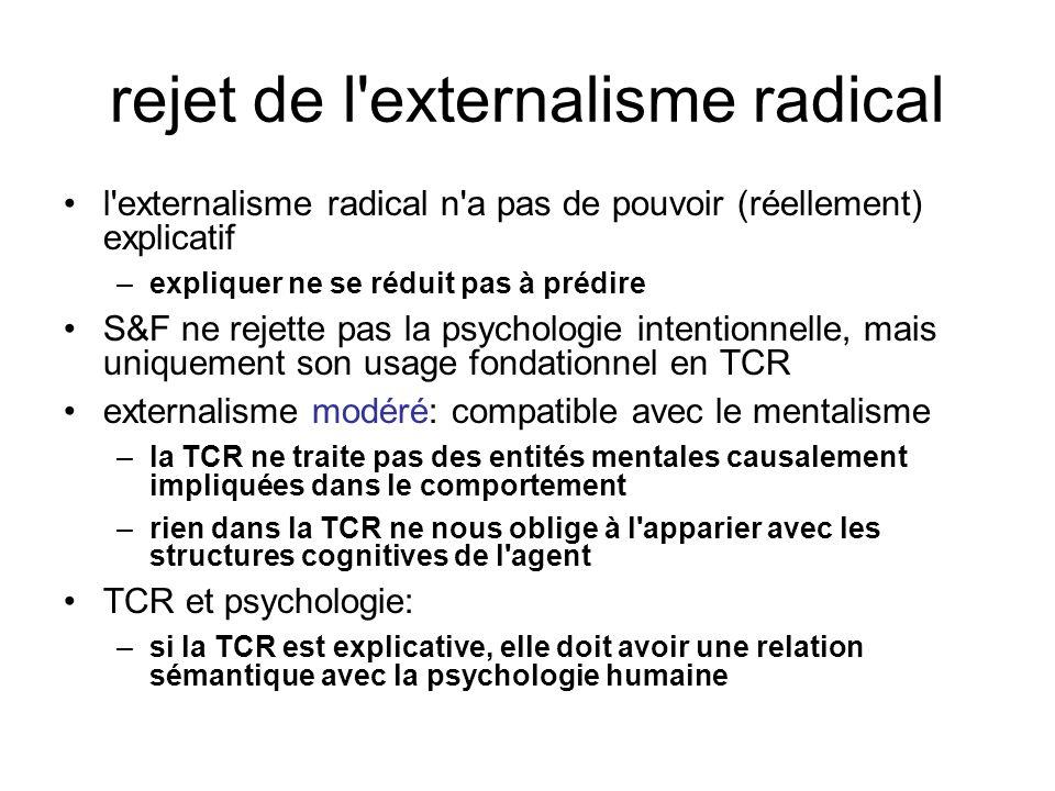 rejet de l'externalisme radical l'externalisme radical n'a pas de pouvoir (réellement) explicatif –expliquer ne se réduit pas à prédire S&F ne rejette
