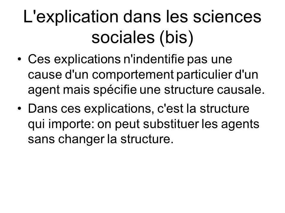 L'explication dans les sciences sociales (bis) Ces explications n'indentifie pas une cause d'un comportement particulier d'un agent mais spécifie une