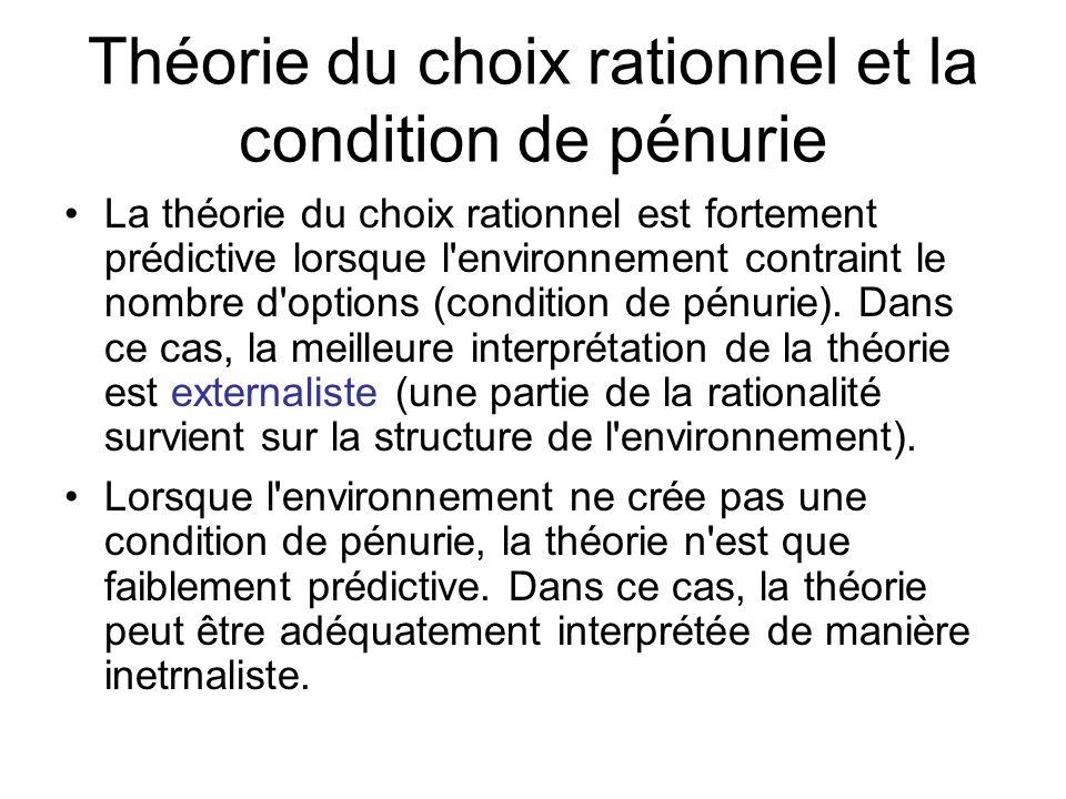 Théorie du choix rationnel et la condition de pénurie La théorie du choix rationnel est fortement prédictive lorsque l'environnement contraint le nomb