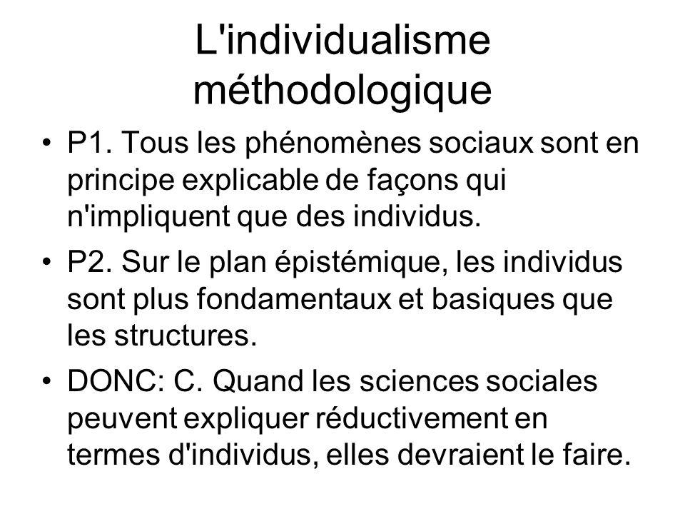 L'individualisme méthodologique P1. Tous les phénomènes sociaux sont en principe explicable de façons qui n'impliquent que des individus. P2. Sur le p