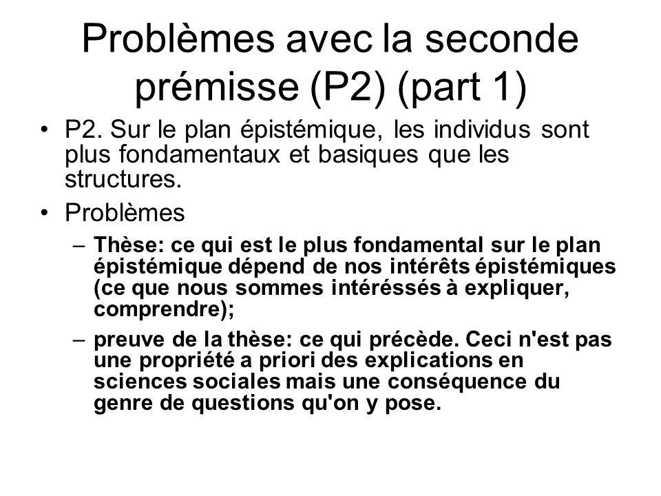 Problèmes avec la seconde prémisse (P2) (part 1) P2. Sur le plan épistémique, les individus sont plus fondamentaux et basiques que les structures. Pro