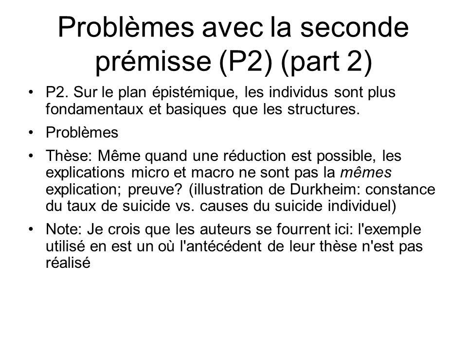 Problèmes avec la seconde prémisse (P2) (part 2) P2. Sur le plan épistémique, les individus sont plus fondamentaux et basiques que les structures. Pro