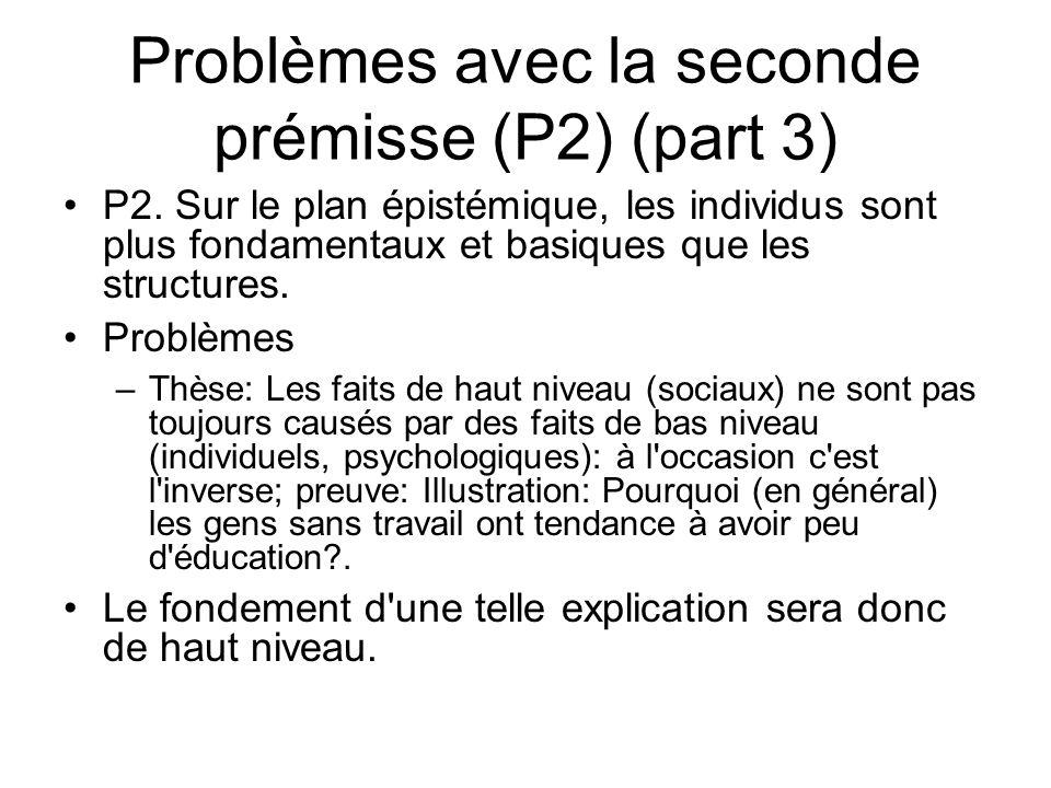 Problèmes avec la seconde prémisse (P2) (part 3) P2. Sur le plan épistémique, les individus sont plus fondamentaux et basiques que les structures. Pro