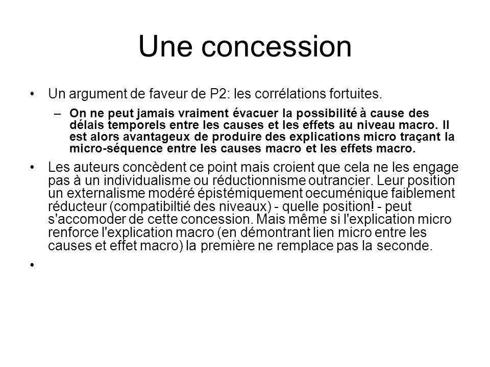 Une concession Un argument de faveur de P2: les corrélations fortuites. –On ne peut jamais vraiment évacuer la possibilité à cause des délais temporel