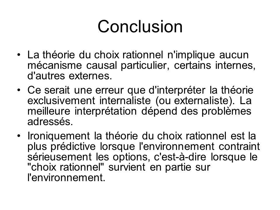Conclusion La théorie du choix rationnel n'implique aucun mécanisme causal particulier, certains internes, d'autres externes. Ce serait une erreur que