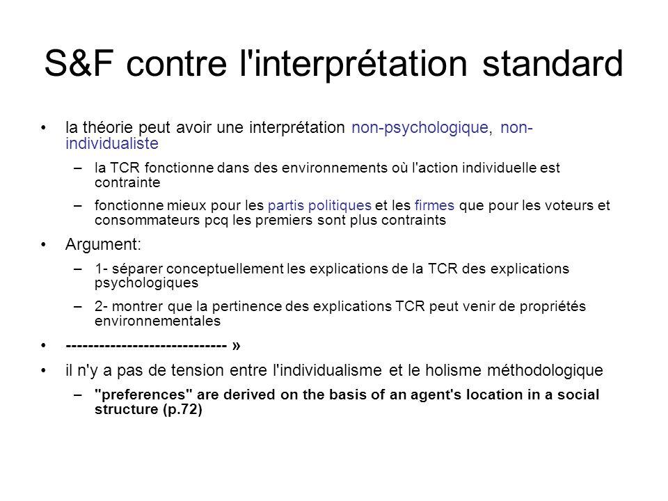 S&F contre l'interprétation standard la théorie peut avoir une interprétation non-psychologique, non- individualiste –la TCR fonctionne dans des envir