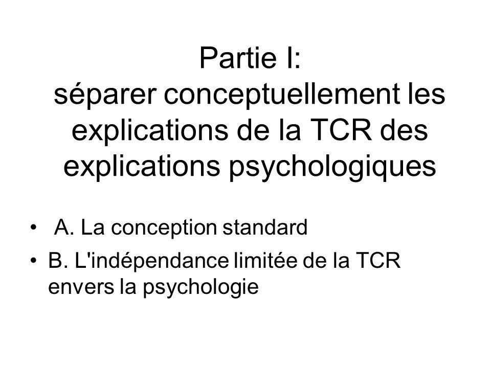Partie I: séparer conceptuellement les explications de la TCR des explications psychologiques A. La conception standard B. L'indépendance limitée de l