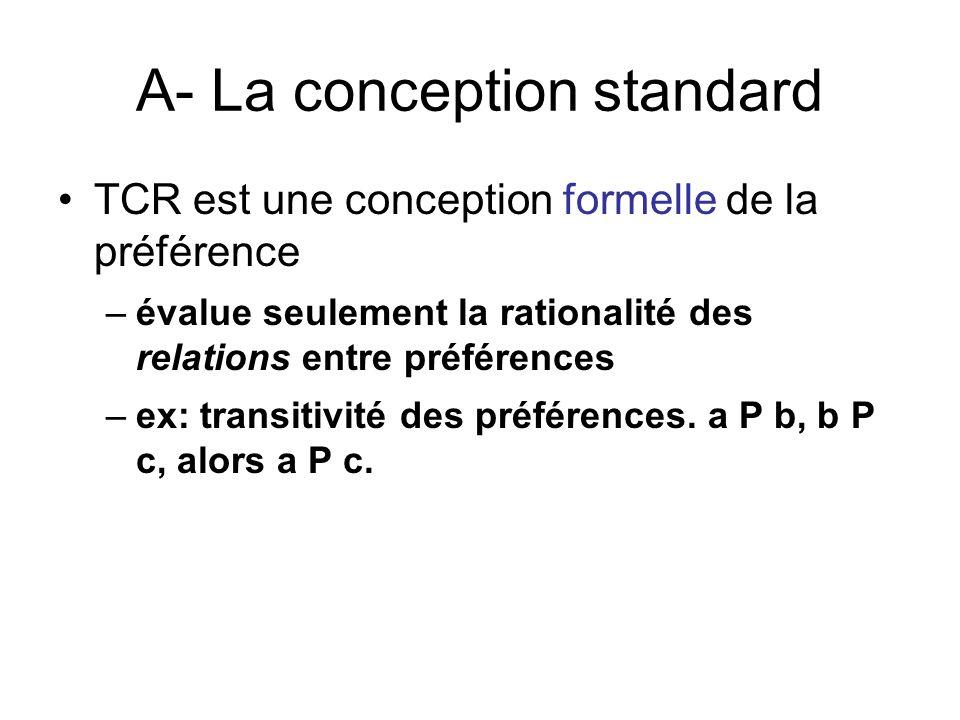 A- La conception standard TCR est une conception formelle de la préférence –évalue seulement la rationalité des relations entre préférences –ex: trans
